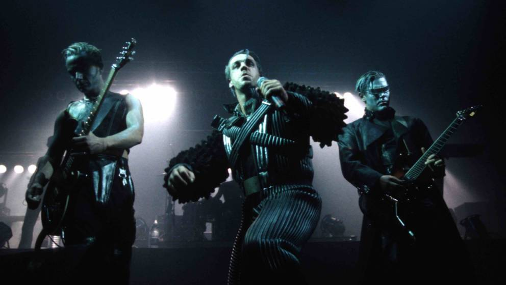 MUNICH, GERMANY: Till Lindemann (C) of Rammstein performs on stage in 1997 in Munich, Germany. (Photo by Bernd Muller/Redfern