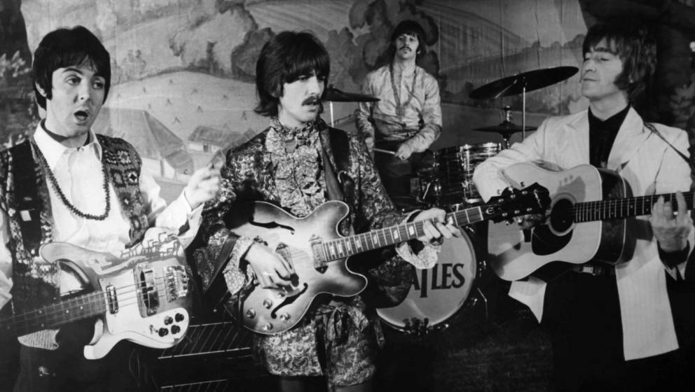 LONDON, UNITED KINGDOM - 1968: The Beatles singing their hit 'Hello Goodbye' during a TV show on the stage of the Saville The