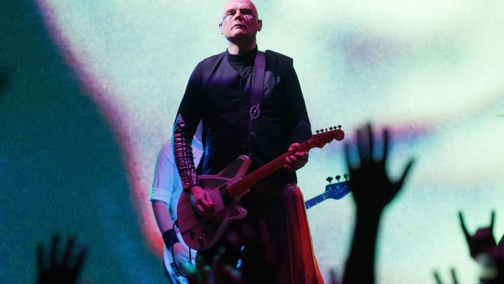LONDON, ENGLAND - OCTOBER 16:  Billy Corgan of Smashing Pumpkins performs on stage at The SSE Arena Wembley on October 16, 20