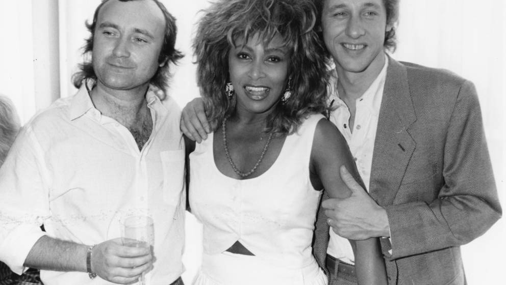 Musicians (L-R) Phil Collins, Tina Turner and Mark Knopfler at an event to honor Princess Michael of Kent, England, July 8th