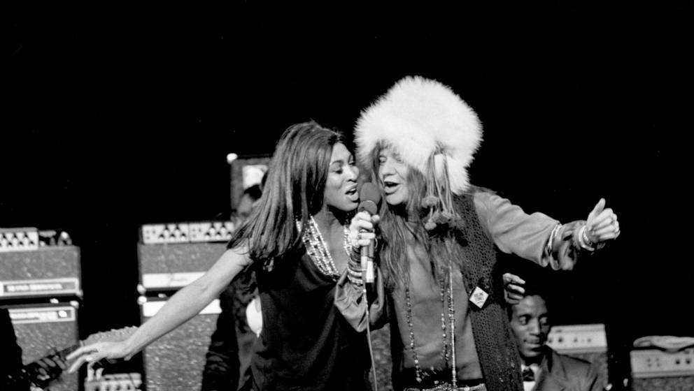 LOS ANGELES - JANUARY 21: Rock and roll singers Janis Joplin and Tina Turner perform onstage on January 21, 1969 in Los Angel