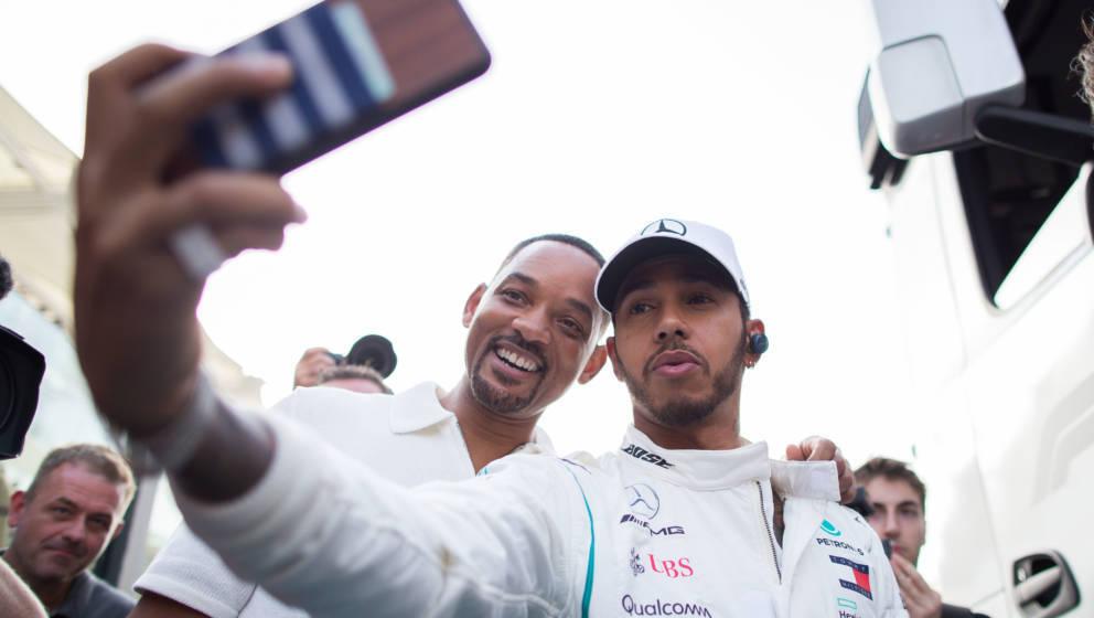 Am Ende reichte es doch nur für ein selfie: Will Smith und Lewis Hamilton