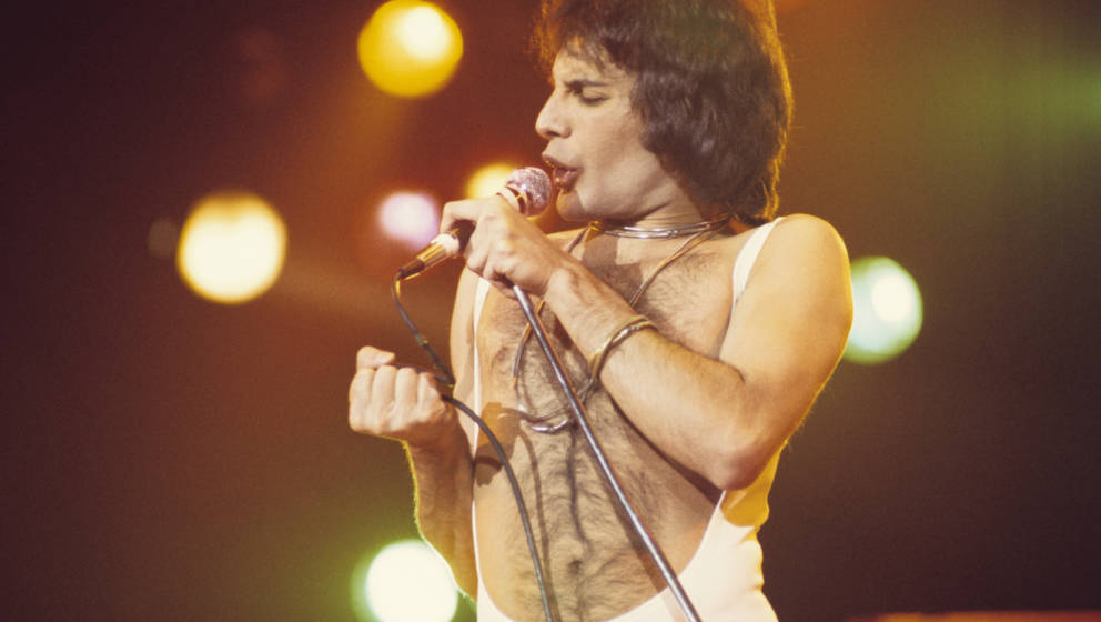 Freddie Mercury of Queen, performing at the Omni. (Photo by Tom Hill/WireImage)
