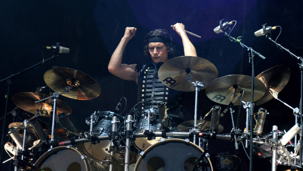 Christoph Schneider of Rammstein performs live at Fields of Rock on June 18, 2005 in Nijmegen, Netherlands.