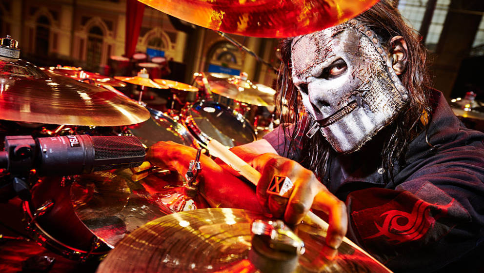 LONDON, UNITED KINGDOM - FEBRUARY 16: Portrait of American musician Jay Weinberg, drummer with heavy metal group Slipknot, ph