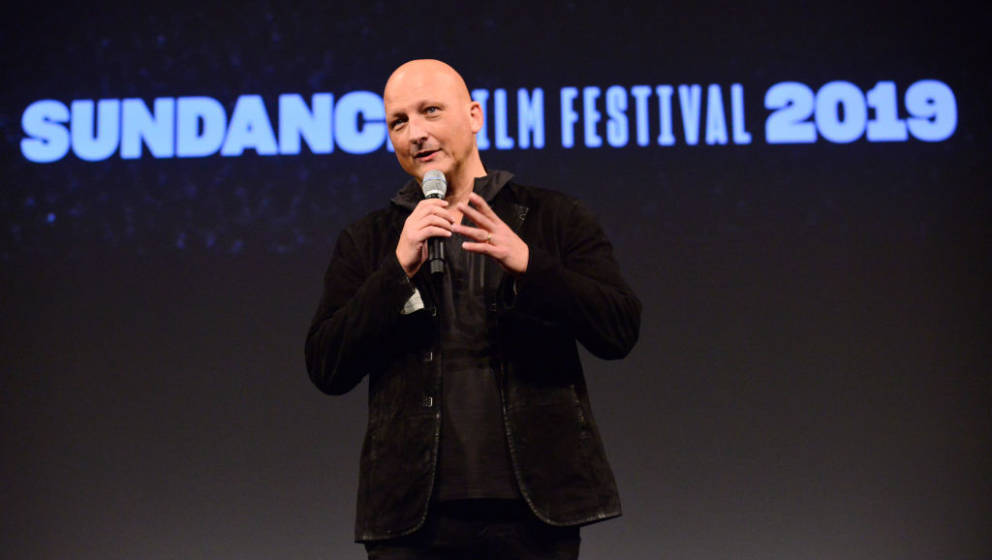 PARK CITY, UT - JANUARY 25:  Director Dan Reed speaks onstage during the 'Leaving Neverland' Premiere during the 2019 Sundanc