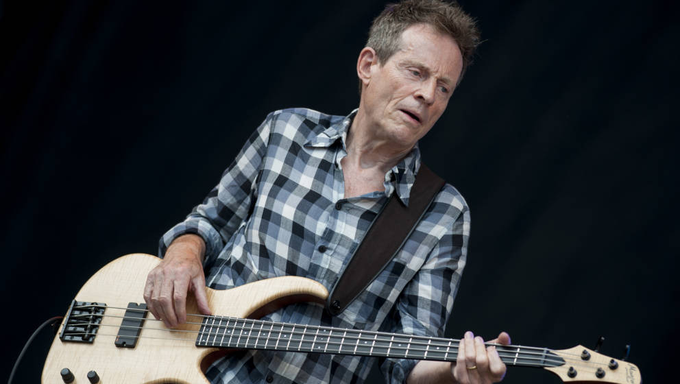 CHELMSFORD, UNITED KINGDOM - AUGUST 18: John Paul Jones of Led Zeppelin performs on stage with Seasick Steve on day 2 of the