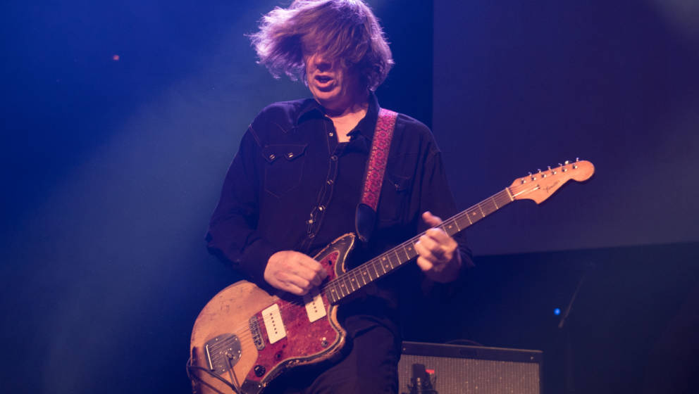 LONDON, ENGLAND - JUNE 04:  Thurston Moore performs at the Hoping For Palestine charity concert at The Roundhouse on June 4,