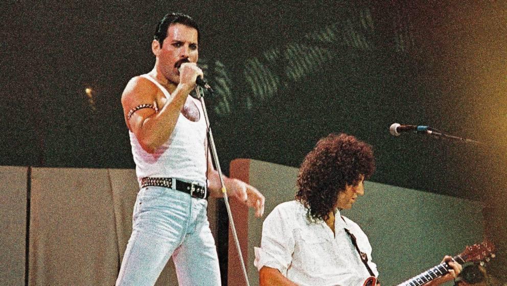 13. Juli 1985: Freddie Mercury beim Live Aid Gig im Wembley Stadium