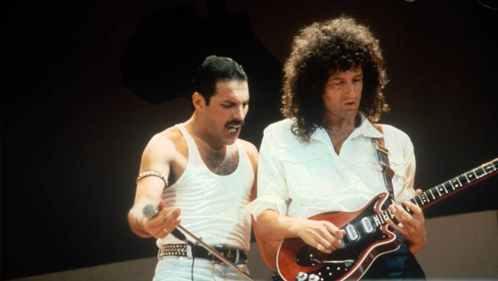 LONDON, UNITED KINGDOM - JULY 13: Freddie Mercury and Brian May of the band Queen at Live Aid on July 13, 1985 in London, Uni
