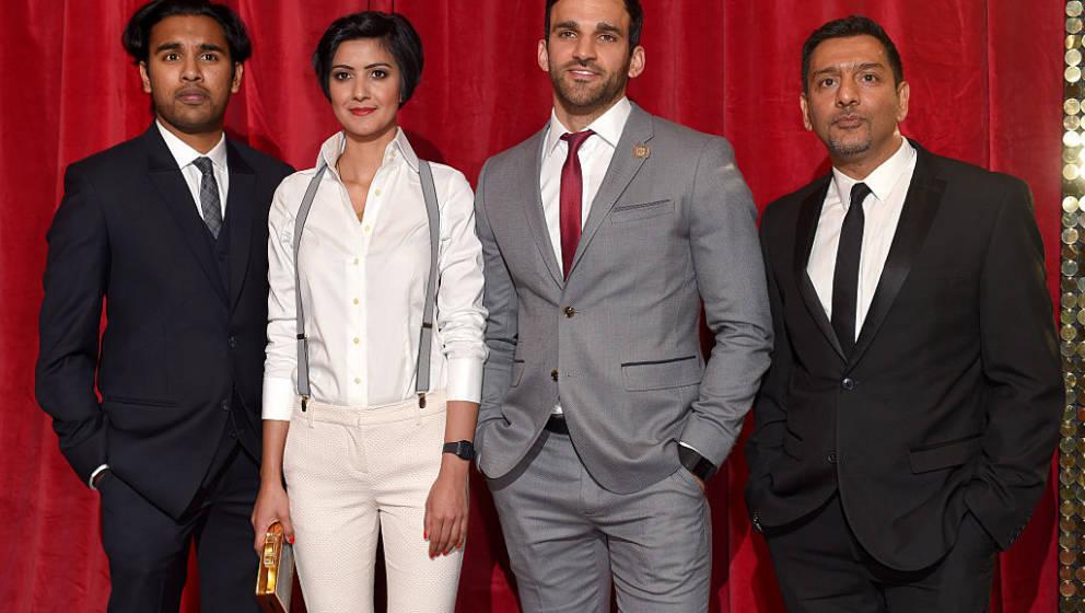 MANCHESTER, ENGLAND - MAY 16:  Himesh Patel, Rakhee Thakrar, Davood Ghadami and Nitin Ganatra attend the British Soap Awards