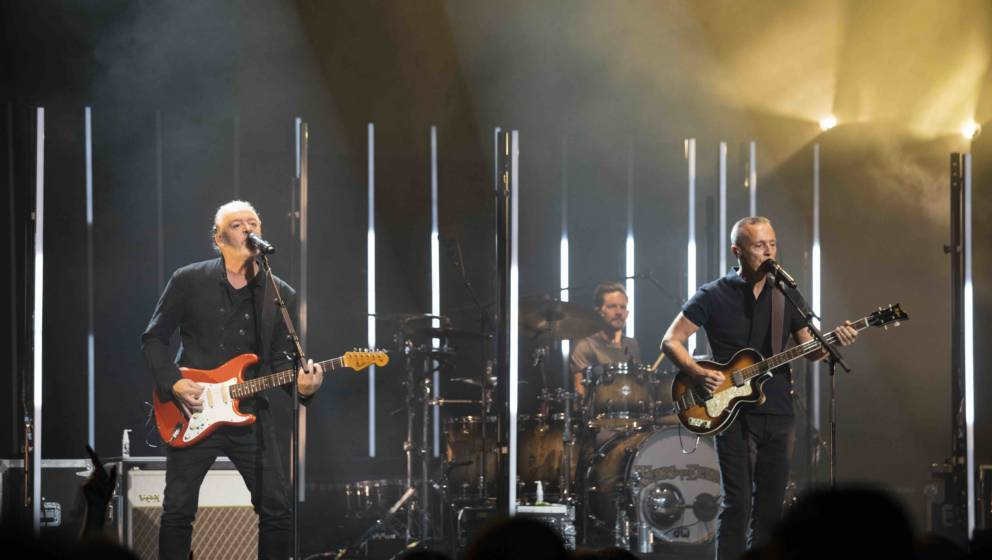 LEEDS, ENGLAND - FEBRUARY 09: Roland Orzabal and Curt Smith of Tears for Fears performs at First Direct Arena Leeds on Februa