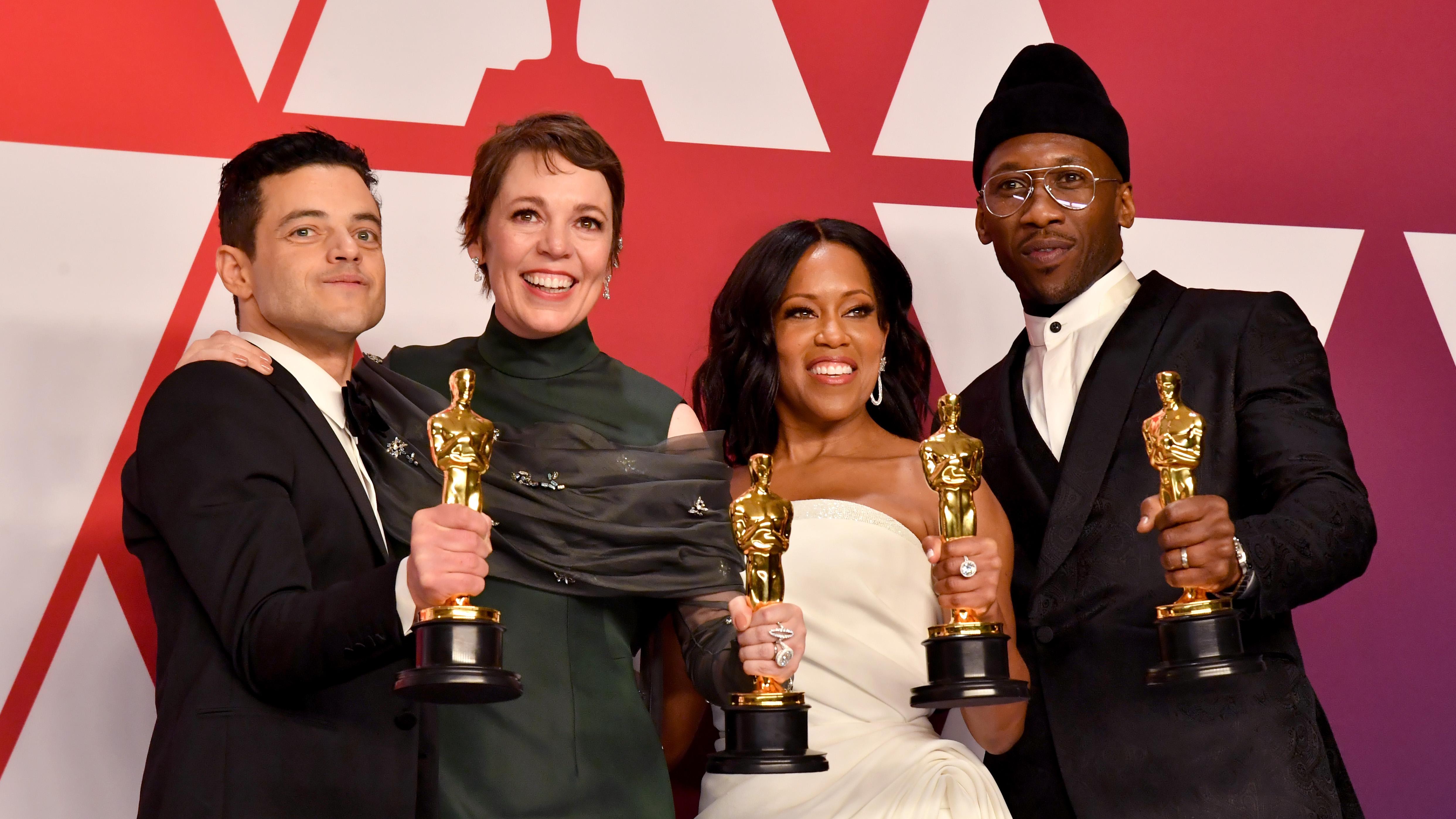 "SchauspielerInnen mit Oscar: Rami Malek (""Bohemian Rhapsody); Olivia Colman""('The Favourite'); Regina King (""'If Beale Street Could Talk') und Mahershala Ali ('Green Book')"