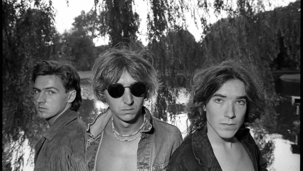 Talk Talk, F.l.t.r: Paul Webb, Mark Hollis & Lee Harris, Vondelpark, Amsterdam, 30-8-1984, Foto Rob Verhorst