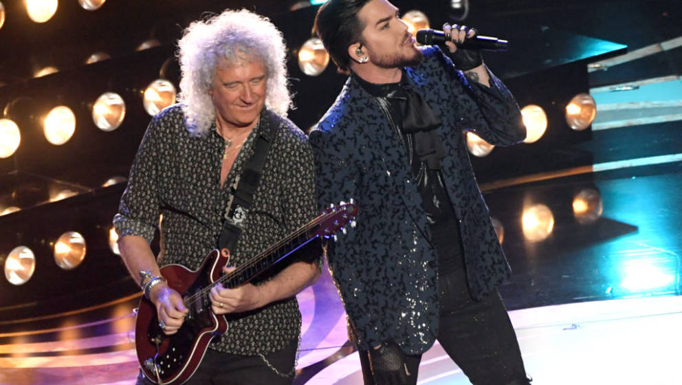 HOLLYWOOD, CALIFORNIA - FEBRUARY 24:  Adam Lambert (L) and Brian May of Queen perform onstage during the 91st Annual Academy