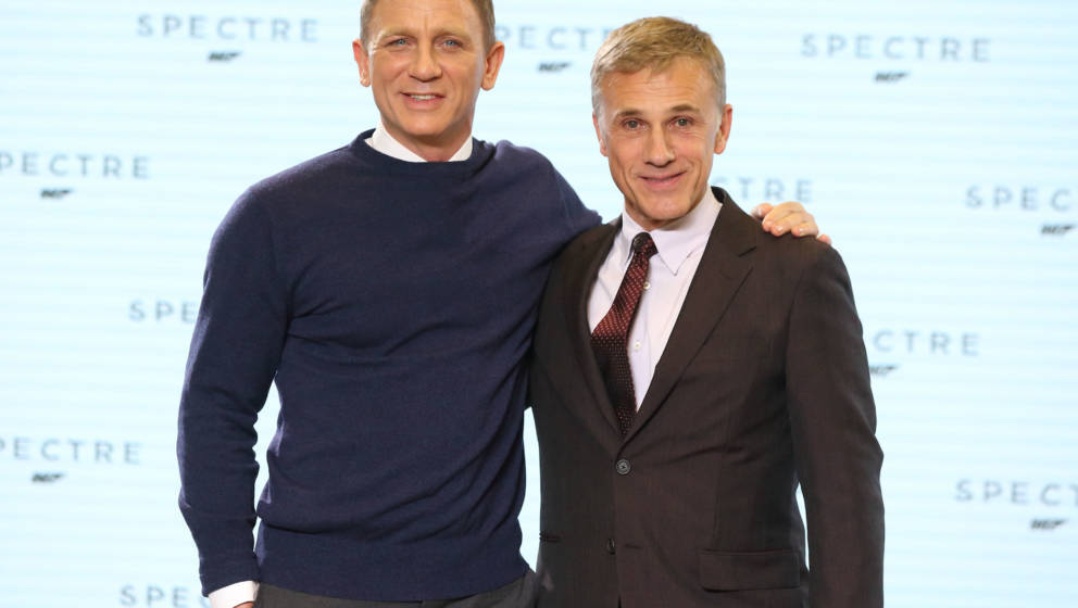 IVER HEATH, ENGLAND - DECEMBER 04: Daniel Craig and Christoph Waltz attend a photocall for Bond 24 at Pinewood Studios on Dec