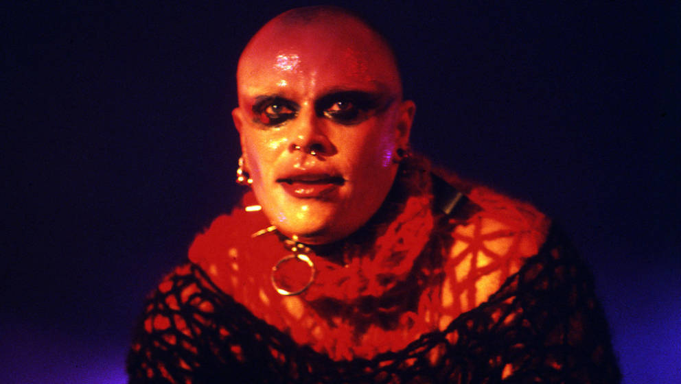 English singer and dancer Keith Flint performing on stage with electronic music group the Prodigy, United Kingdom, 1997. (Pho