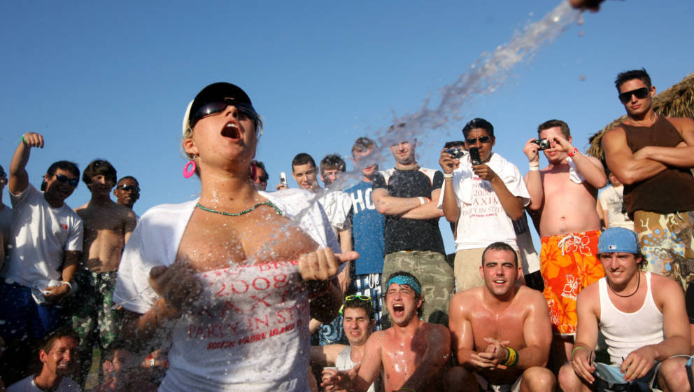 SOUTH PADRE ISLAND, TX - MARCH 26:  Students participate in a wet t-shirt contest at the MTV Beach Bash party put on by Globa