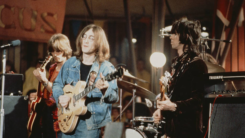 From left to right: Eric Clapton, John Lennon (1940 - 1980) and Keith Richards perform live on stage as The Dirty Mac on the