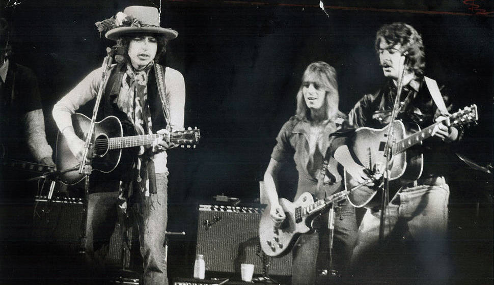 TORONTO, ON - DECEMBER 2, 1975:  His rolling thunder revue making its way toward New York, Bob Dylan (left) last night took c