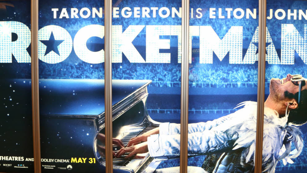 LAS VEGAS, NEVADA - APRIL 01: An illuminated advertisement for the upcoming 'Rocketman' movie is displayed at Caesars Palace