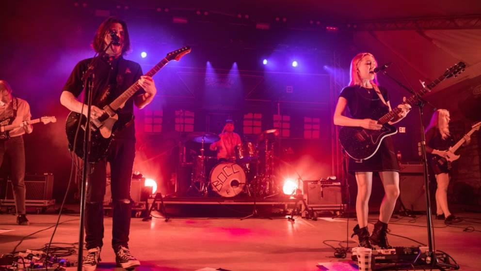 AUSTIN, TEXAS - APRIL 09: Singer-songwriter Conor Oberst (L) and Phoebe Bridgers of Better Oblivion Community Center perform