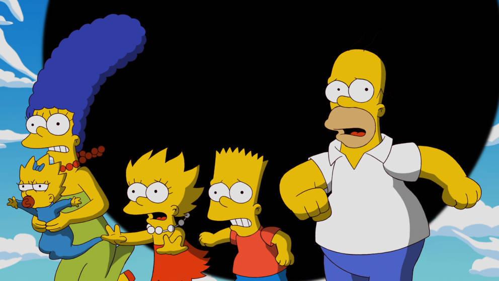 Ein Bild, das symbolischer nicht sein könnte: Die Simpsons flüchten vor einem schwarzen Loch
