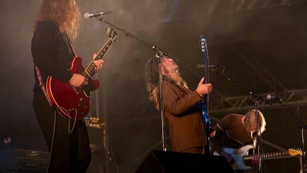 TRONDHEIM, NORWAY - AUGUST 17: Hans Magnus Ryan, Bent Saether and Reine Fiske of Motorpsycho perform live on stage headlining