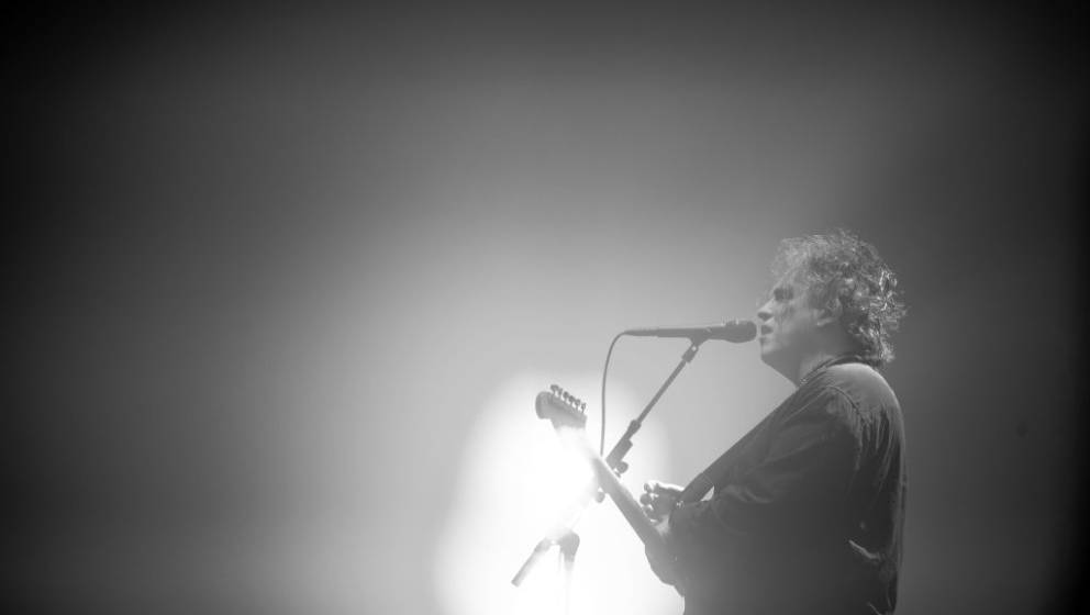 SYDNEY, AUSTRALIA - MAY 24: (EDITORS NOTE: IMAGE HAS BEEN CONVERTED TO BLACK AND WHITE.) Robert Smith of The Cure performs at