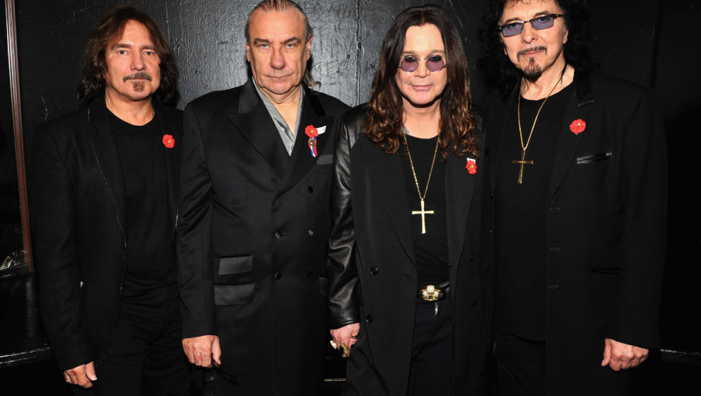 WEST HOLLYWOOD, CA - NOVEMBER 11:  (EXCLUSIVE) (L-R) Musicians Geezer Butler, Bill Ward, Ozzy Osbourne and Tony Iommi pose ba