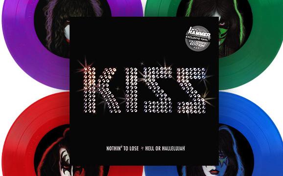 """7""""-Single von Kiss in vier verschiedenen Farben"""
