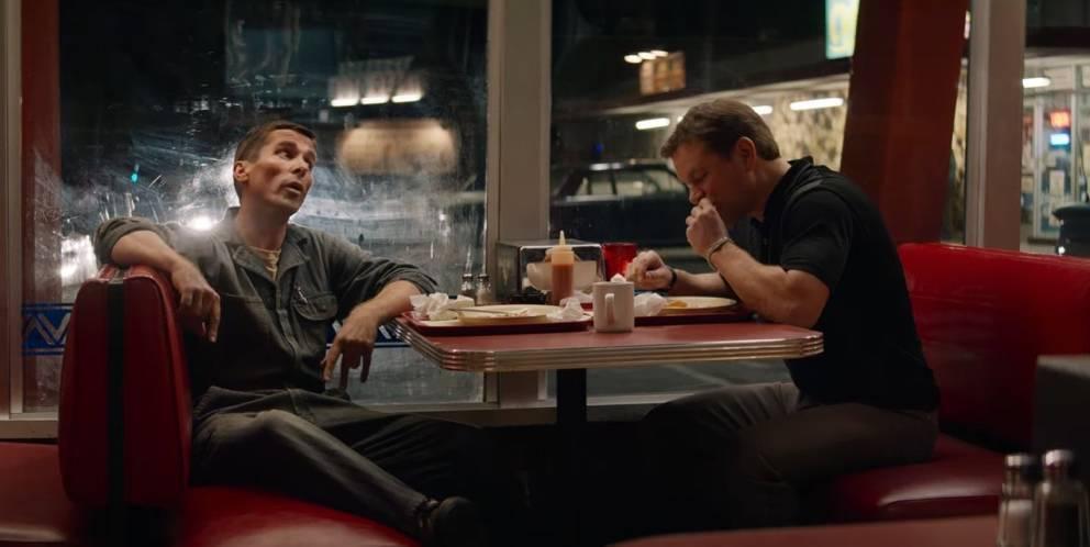 "Christian Bale als Ken Miles und Matt Damon als Carroll Shelby in ""Ford vs. Ferrari"""