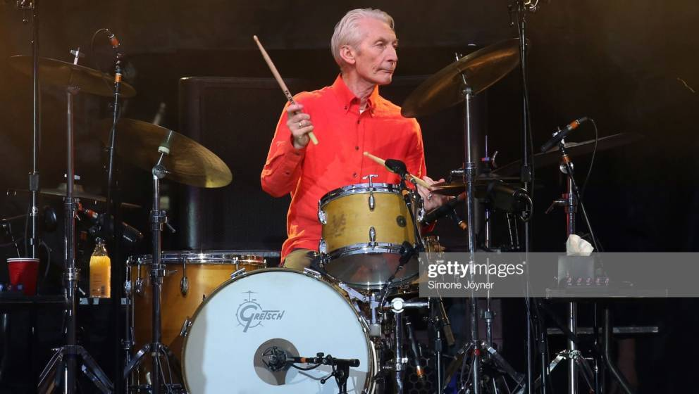 LONDON, ENGLAND - MAY 25:  Charlie Watts of The Rolling Stones performs live on stage during the 'No Filter' tour at The Lond