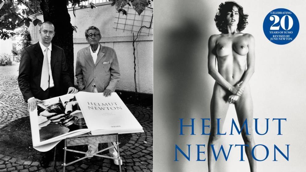 Helmut Newton mit Taschen-Verleger Benedikt Taschen und die Neuauflage des berühmten Sumo-Bandes