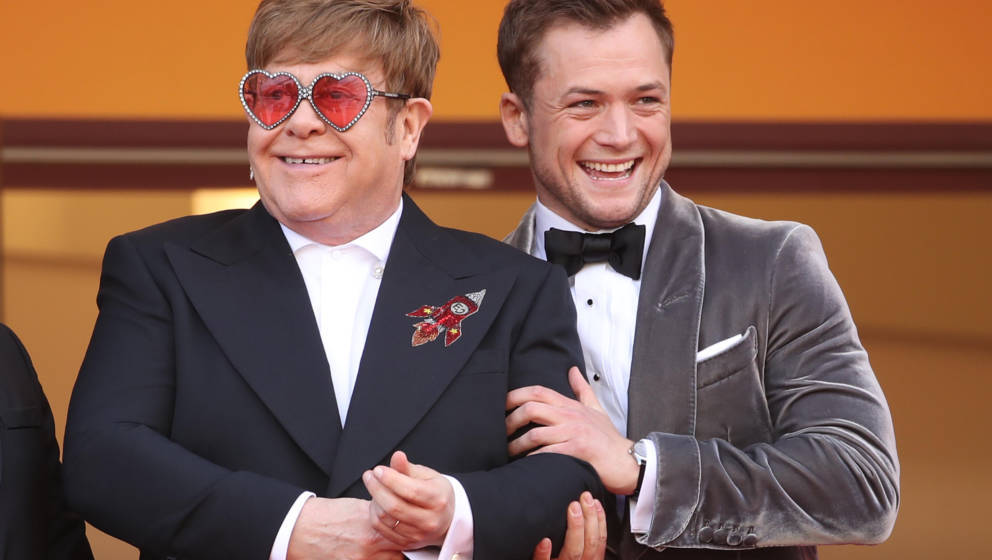 CANNES, FRANCE - MAY 16:  Sir Elton John and Taron Egerton attends the screening of 'Rocketman' during the 72nd annual Cannes