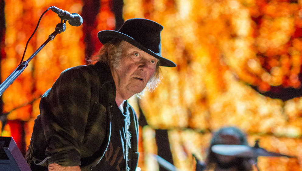 Neil Young performs at Farm Aid at the XFINITY Theatre in Hartford, Connecticut on September 22, 2018.