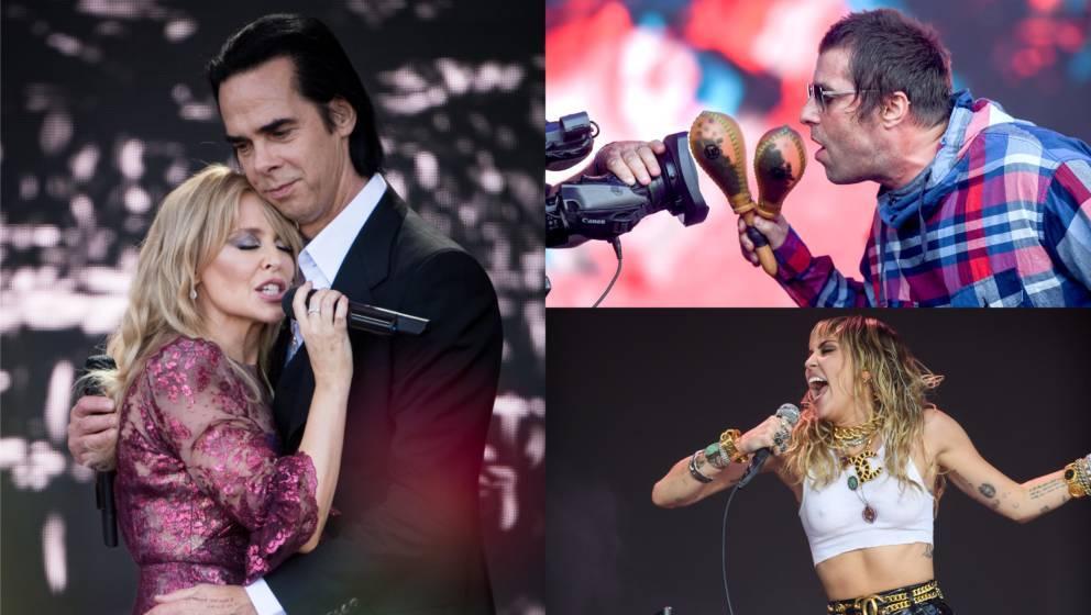 Starbesetzung beim Glastonbury-Jahrgang 2019: Kylie Minogue, Nick Cave, Liam Gallagher und Miley Cyrus