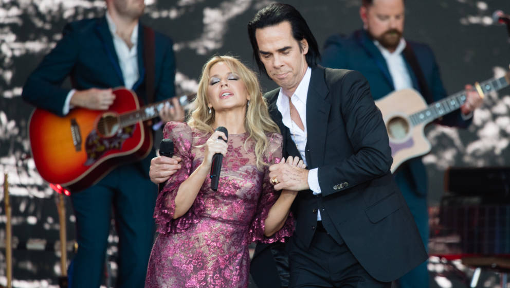 GLASTONBURY, ENGLAND - JUNE 30: Kylie Minogue and Nick Cave perform on the Pyramid Stage on day five of Glastonbury Festival