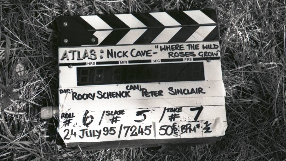 A clapper board on set during the filming of the video for the Nick Cave and Kylie Minogue duet 'Where the Wild Roses Grow',