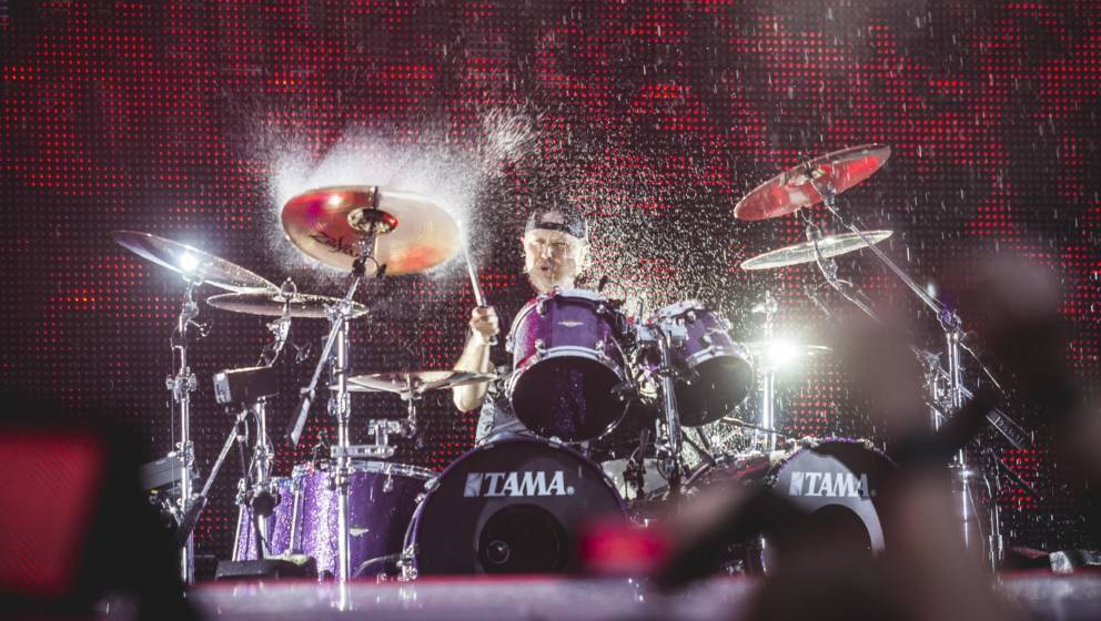 BERLIN, GERMANY - JULY 06: Drummer Lars Ulrich of the american band Metallica performs live on stage during a concert at Olym