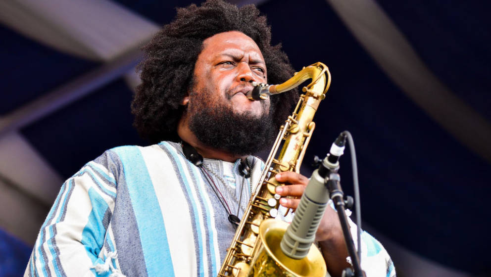 NEW ORLEANS, LOUISIANA - MAY 03: Kamasi Washington performs during the 2019 New Orleans Jazz & Heritage Festival 50th Ann