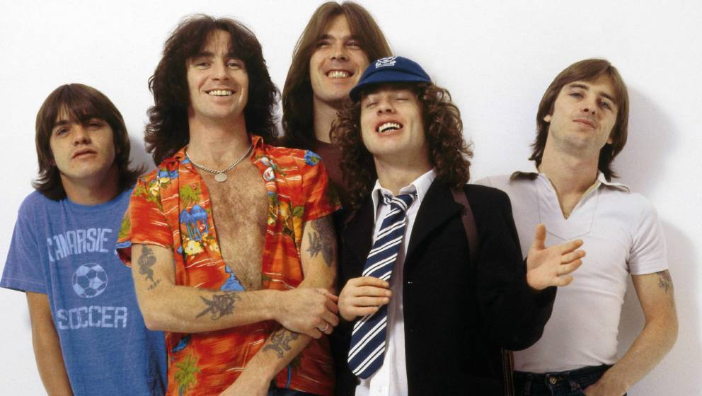 UNITED KINGDOM - AUGUST 01:  CAMDEN  Photo of Bon SCOTT and AC/DC and Angus YOUNG and Phil RUDD and Cliff WILLIAMS and Malcol