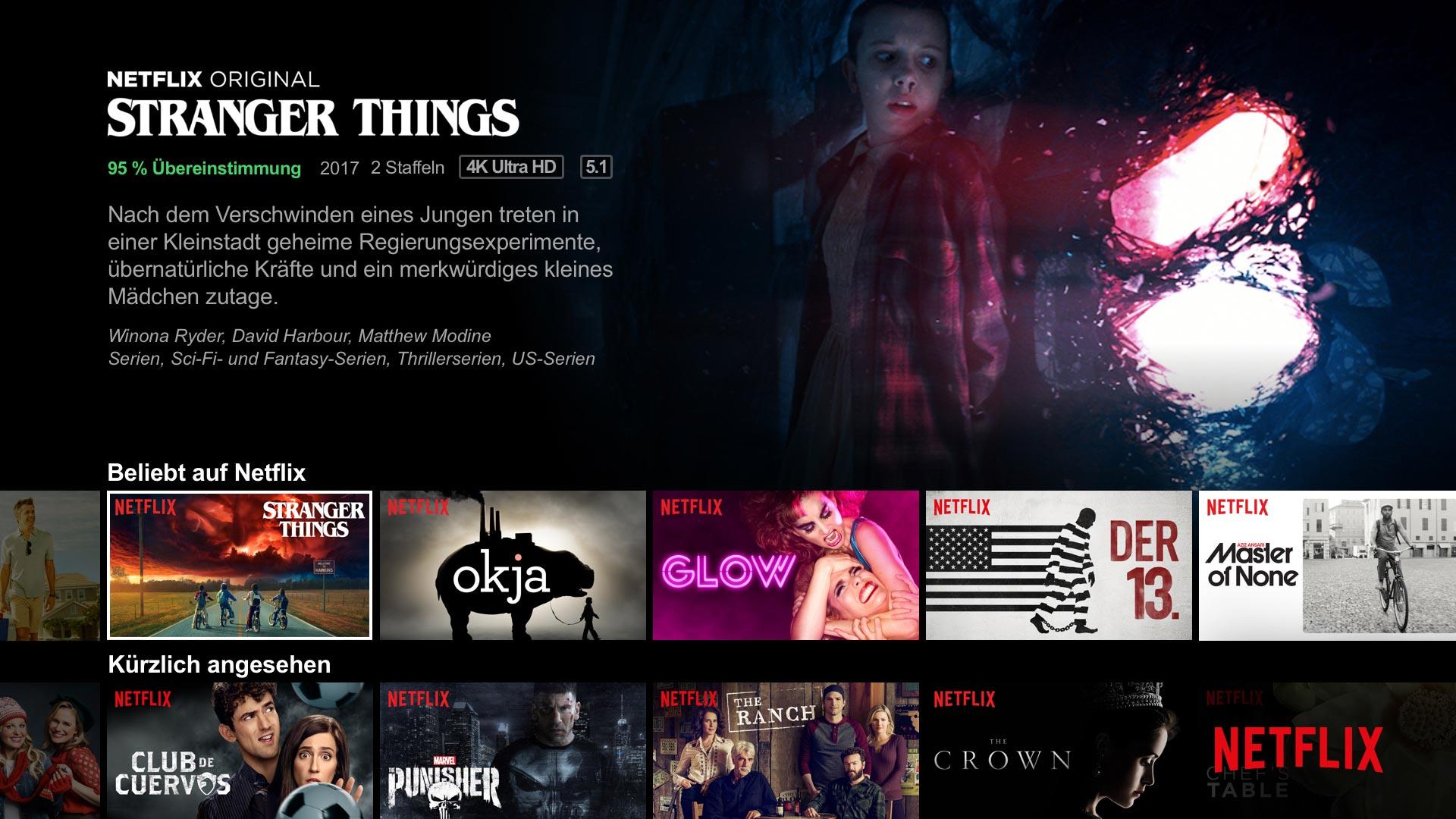 Das Interface von Netflix