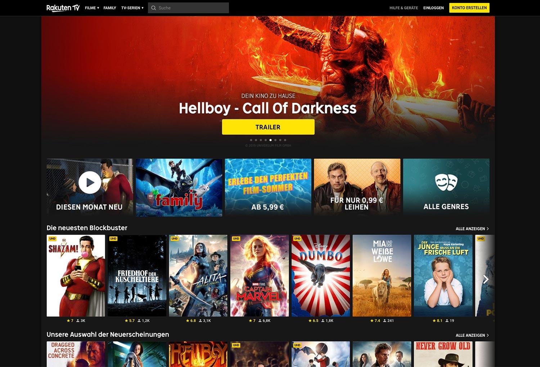 Das Web-Interface von Rakuten TV