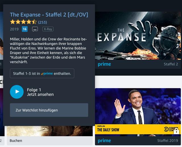 Amazon Prime Video: So einfach werden Inhalte zur Watchlist hinzugefügt.