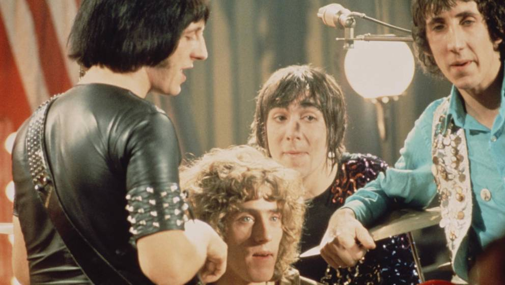 English group The Who pose together on the set of the Rolling Stones Rock and Roll Circus at Intertel TV Studio in Wembley, L
