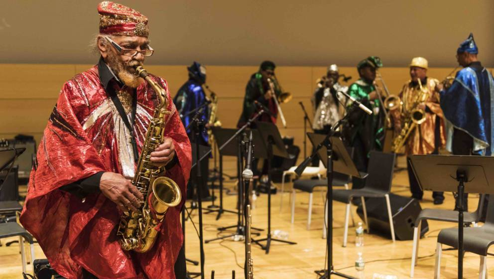 American Free and Avant-garde Jazz musician Marshall Allen plays alto saxophone as he leads the Sun Ra Arkestra during a perf