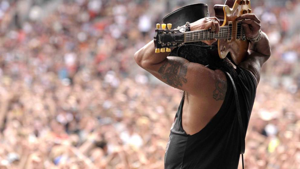 SYDNEY, AUSTRALIA - FEBRUARY 27 2011;Slash performs on stage at The Soundwave Music Festival at Olympic Park on  27th Februar