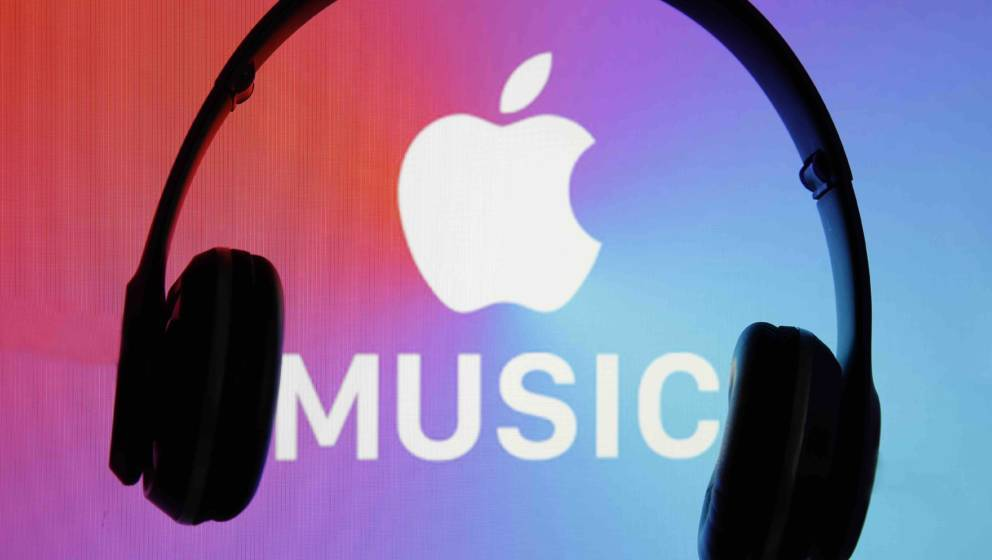 PARIS, FRANCE - APRIL 08: In this photo illustration, the logo of the music streaming platform Apple Music is displayed on th