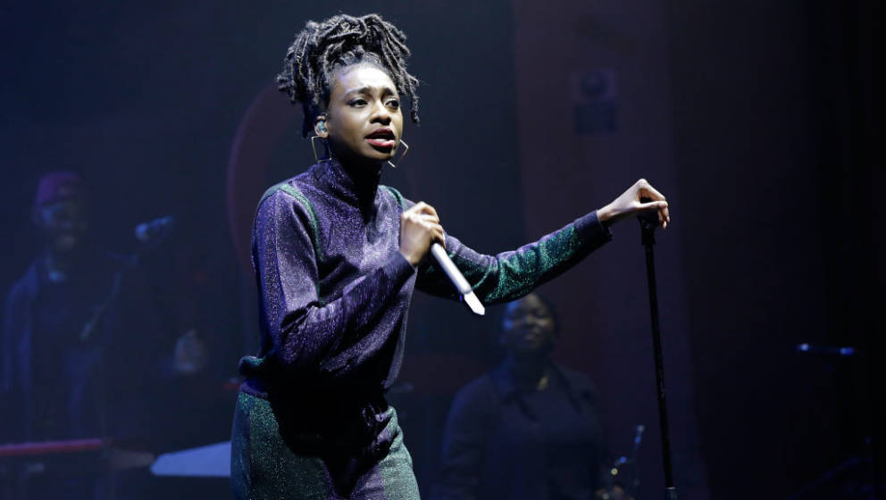 LONDON, ENGLAND - APRIL 17:  Little Simz performs on stage, as thousands of Global Citizens unite with leading UK artists ind
